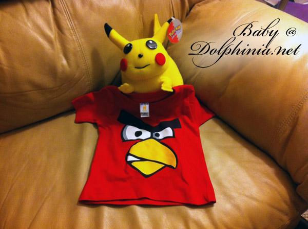 Angry Birds Tee & Pikachu Plush