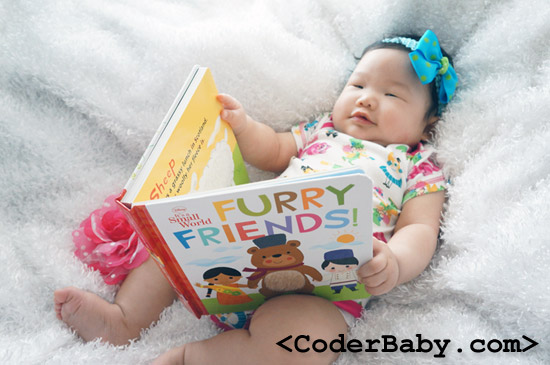 Baby Reading Furry Friends