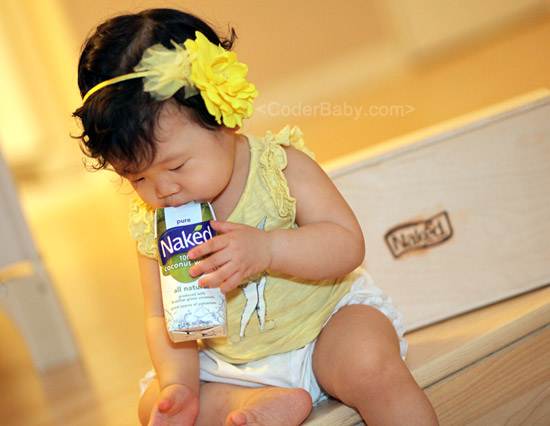 CoderBaby with Naked Juice Coconut Water